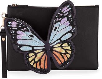 Sophia Webster Flossy Butterfly Leather Pochette Clutch Bag