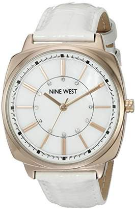 Nine West Women's NW/1728WMRG Swarovski Crystal Accented Rose Gold-Tone and White Leather Strap Watch