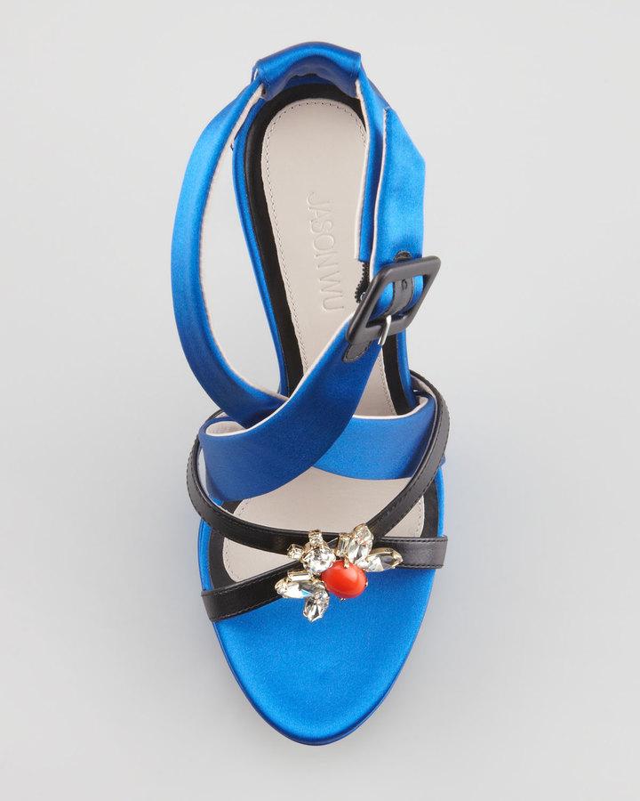Jason Wu Marisa Jeweled Platform Sandal, Blue