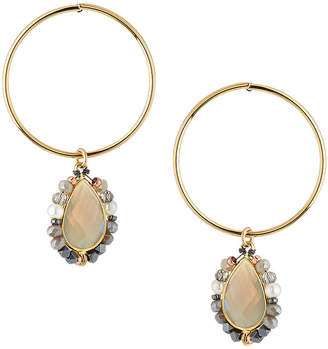 Nakamol Hoop & Stone Teardrop Earrings