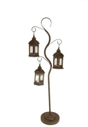 """Christmas Central 50.5"""" Rustic Brown Pillar Candle Holder Tree with 3 Decorative Lanterns"""