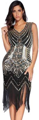Meilun 1920s Sequined Inspired Beaded Gatsby Flapper Evening Dress Prom (XXL, )