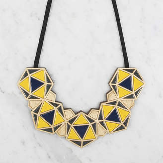 SNÖRK Handmade Geometric Bib Necklace // Dark