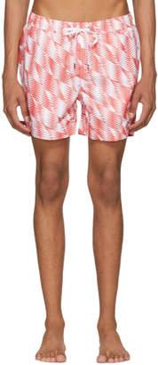 Onia Orange and White Charles Swim Shorts