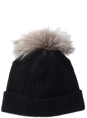 Portolano Genuine Dyed Fox Fur Pompom Cashmere Ribbed Beanie