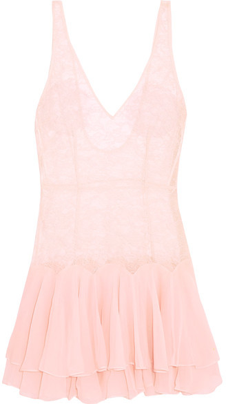 Agent Provocateur Agent Provocateur - Vanessah Tiered Silk-chiffon And Chantilly Lace Chemise - Pastel pink