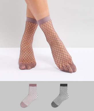 Asos Design 2 Pack Oversized Fishnet Socks In Black And Mauve