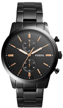 Fossil Townsman Chronograph Black Stainless Steel Link Bracelet Watch