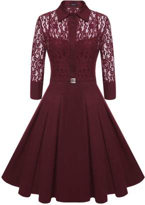 ACEVOG Vintage Women Floral Lace 3/4 Sleeves Bridesmaid A Line Pleated Dress