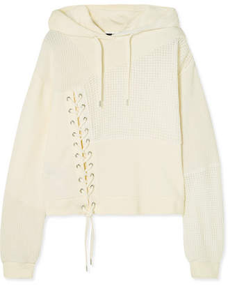 McQ Lace-up Knit-paneled Cotton Hooded Top - Ivory