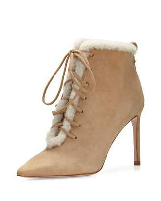 Delman Becca Shearling Lace-Up Bootie, Camel/White $498 thestylecure.com