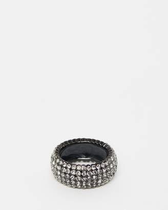 Izoa Crystal Ring Gunmetal