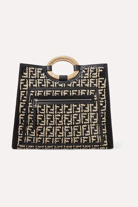 Fendi Runaway Large Leather-trimmed Woven Raffia Tote - Black