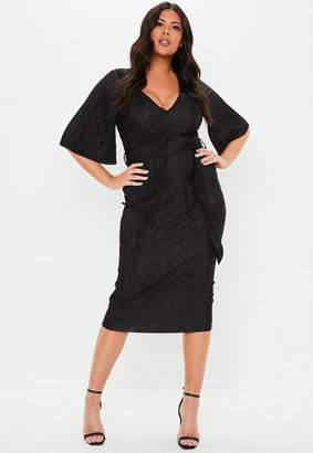 Missguided Plus Size Black Plisse V Neck Midi Dress