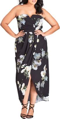 City Chic Orchid Dreams Strapless Maxi Dress