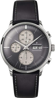 Junghans 027/4525.01 meister chronoscope stainless steel and leather watch