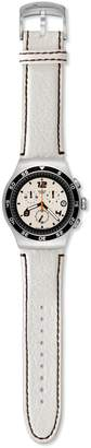 Swatch Men's LIFESTYLE FOR HIM YOS438 Silver Leather Quartz Watch with Dial