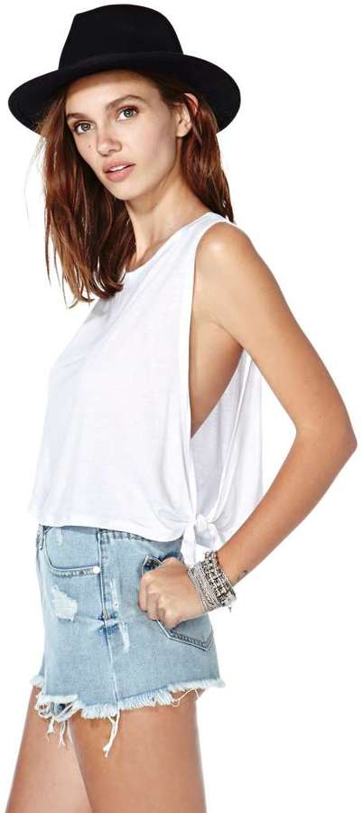 Nasty Gal Tied Up Crop Tank - White