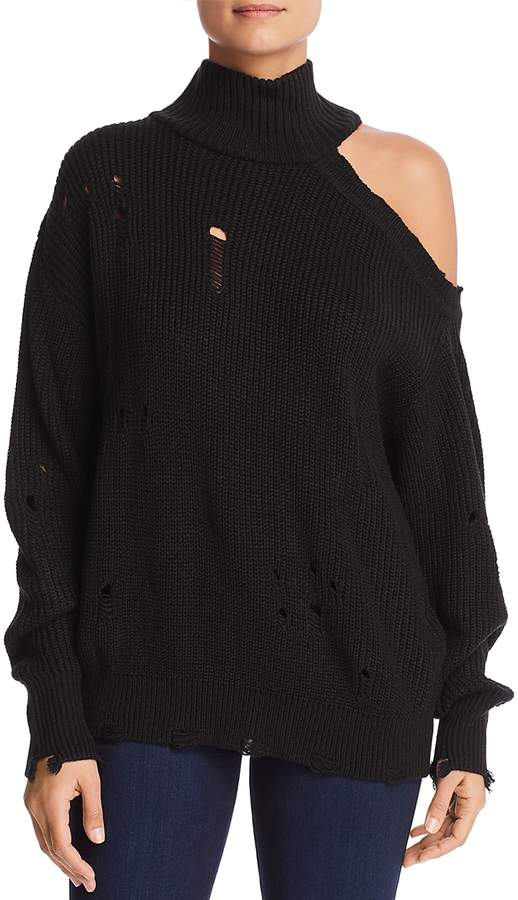Distressed Cutout Sweater