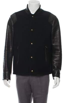 Givenchy Leather-Trimmed Wool Bomber Jacket