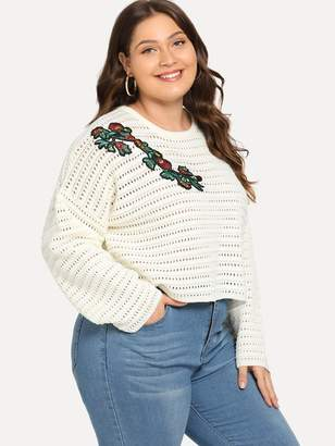 Shein Plus Botanical Applique Eyelet Sweater
