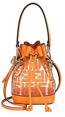 Fendi Women's Mini Mon Tresor Leather-Trim Bucket Bag