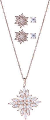 Crislu Rose Gold-Tone Star Necklace & Stud Earrings Set