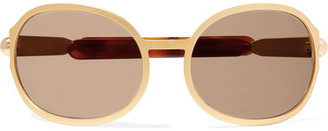 Chloé Oversized Oval-frame Gold-tone And Acetate Sunglasses
