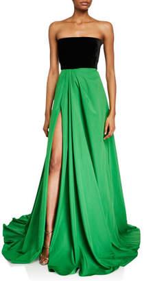 Alex Perry Dalton Velvet & Taffeta Strapless Gown