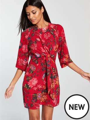 AX Paris Knot Front Floral Dress - Red