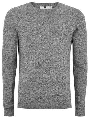 Topman Mens Grey. Gray Black and White Twist Side Ribbed Sweater