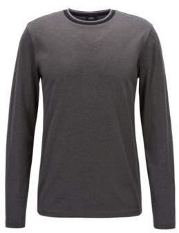 BOSS Hugo Long-sleeved T-shirt in mercerized cotton striped neckline XL Open Grey