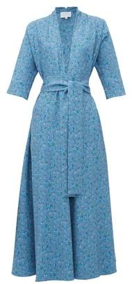 Luisa Beccaria V Neck Floral Print A Line Dress - Womens - Blue Multi