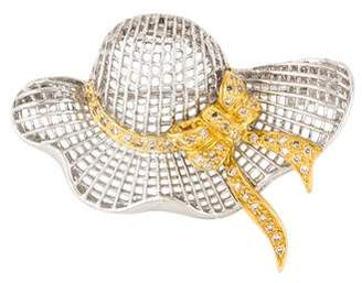 18K Diamond Hat Brooch