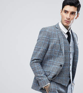 Heart & Dagger Skinny Suit Jacket In Harris Tweed In Check