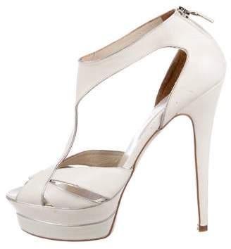 Elie Saab Leather Platform Sandals