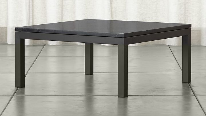 Crate & BarrelParsons Square Dark Steel Coffee Table with Black Marble Top