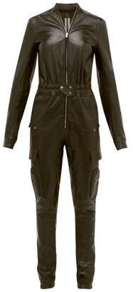 Rick Owens Zipped Bonded Leather Jumpsuit - Womens - Black