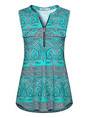 ZKHOECR Tank Tops for Leggings for Women Ladies V Neck Tunic Sleeveless Designer Elegant Dressy Cute Long Going Out Casual Summer Clothing Swing Henley Shirts Royal Green Print M