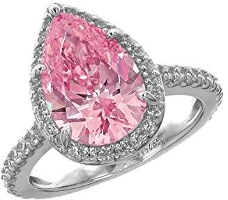 Swarovski Myia Passiello Platinum Plated Sterling Silver Colour Pop Halo Pink Zirconia Pear Cut Ring - Size L
