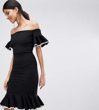 John Zack Tall Off Shoulder Midi Pencil Dress With Fluted Hem Detail