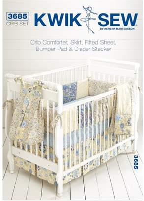 """Kwik Sew Pattern Crib Comforter, Skirt, Fitted Sheet, Bumper Pad and Diaper Stand, (Fits Cribs 28"""" x 52"""")"""