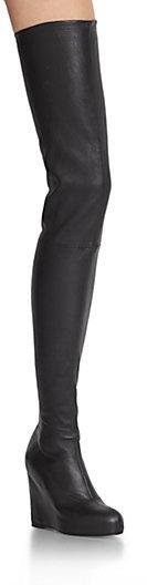 Maison Martin Margiela Thigh-High Leather Wedge Boots
