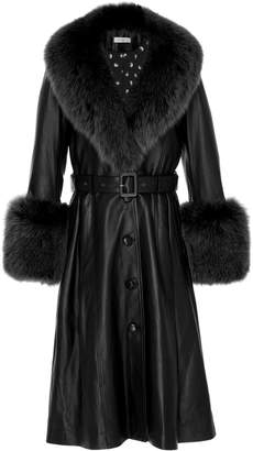 Saks Potts Foxy Fur-Trimmed Leather Coat Size: 1