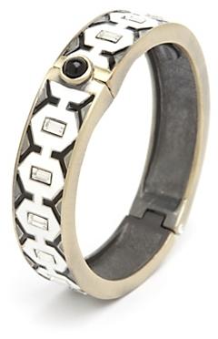 Gerard Yosca Metal Diamond Enamel Hinge Bracelet
