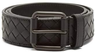 Bottega Veneta Intrecciato Leather 3.5cm Belt - Mens - Black