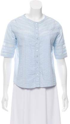 The Kooples Lace-Trimmed Short Sleeve Blouse