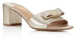 Salvatore Ferragamo Women's Eolie Metallic Leather Block Heel Slide Sandals