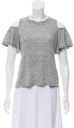 Rebecca Taylor Linen Shoulder Cutout T-Shirt