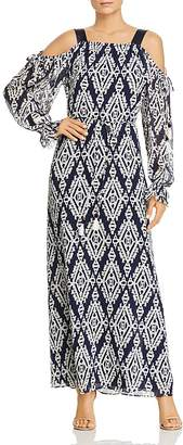 Tory Burch Katherine Printed Cold-Shoulder Wrap Dress